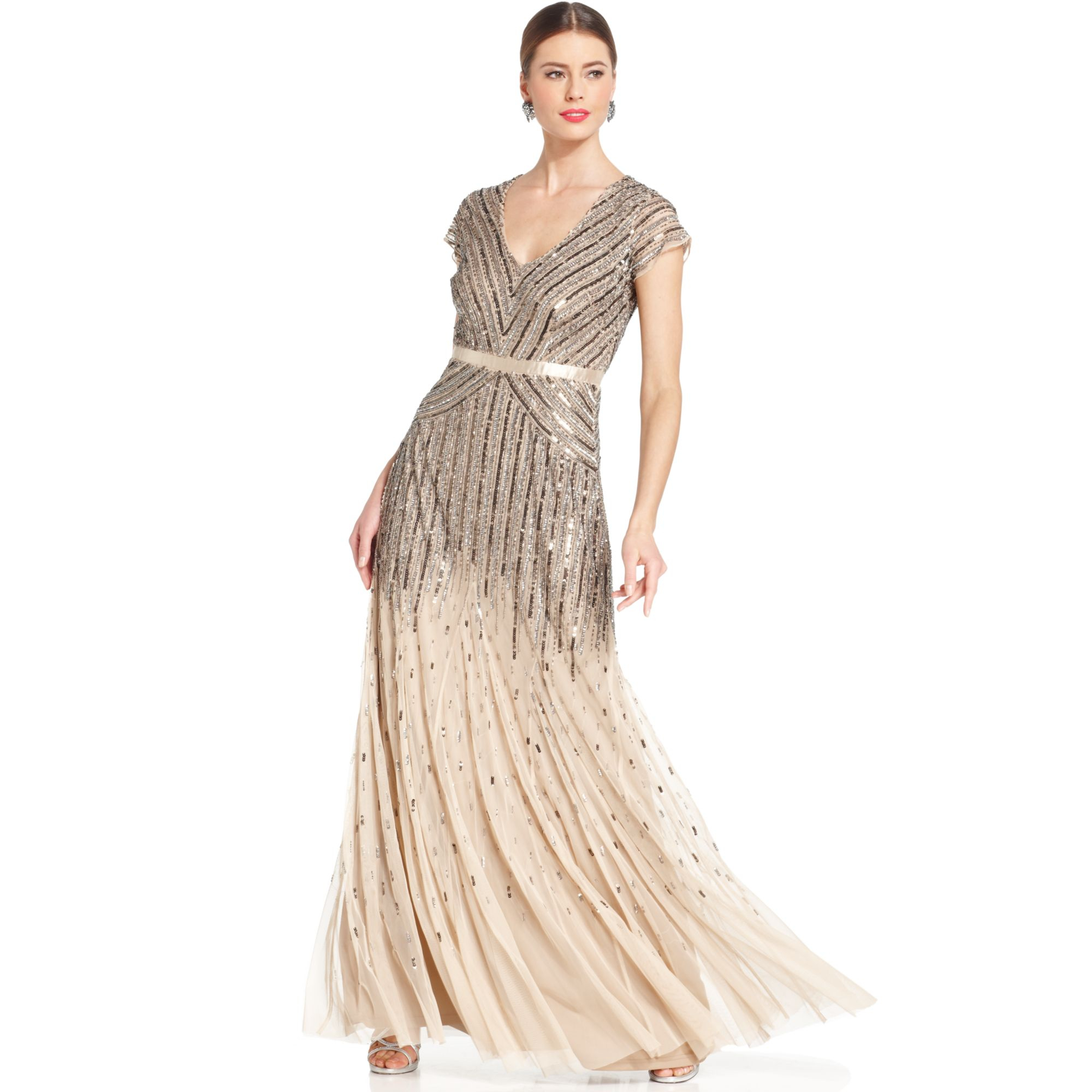 Nature Dress: Adrianna Papell Capsleeve Beaded Sequined Gown In Nude