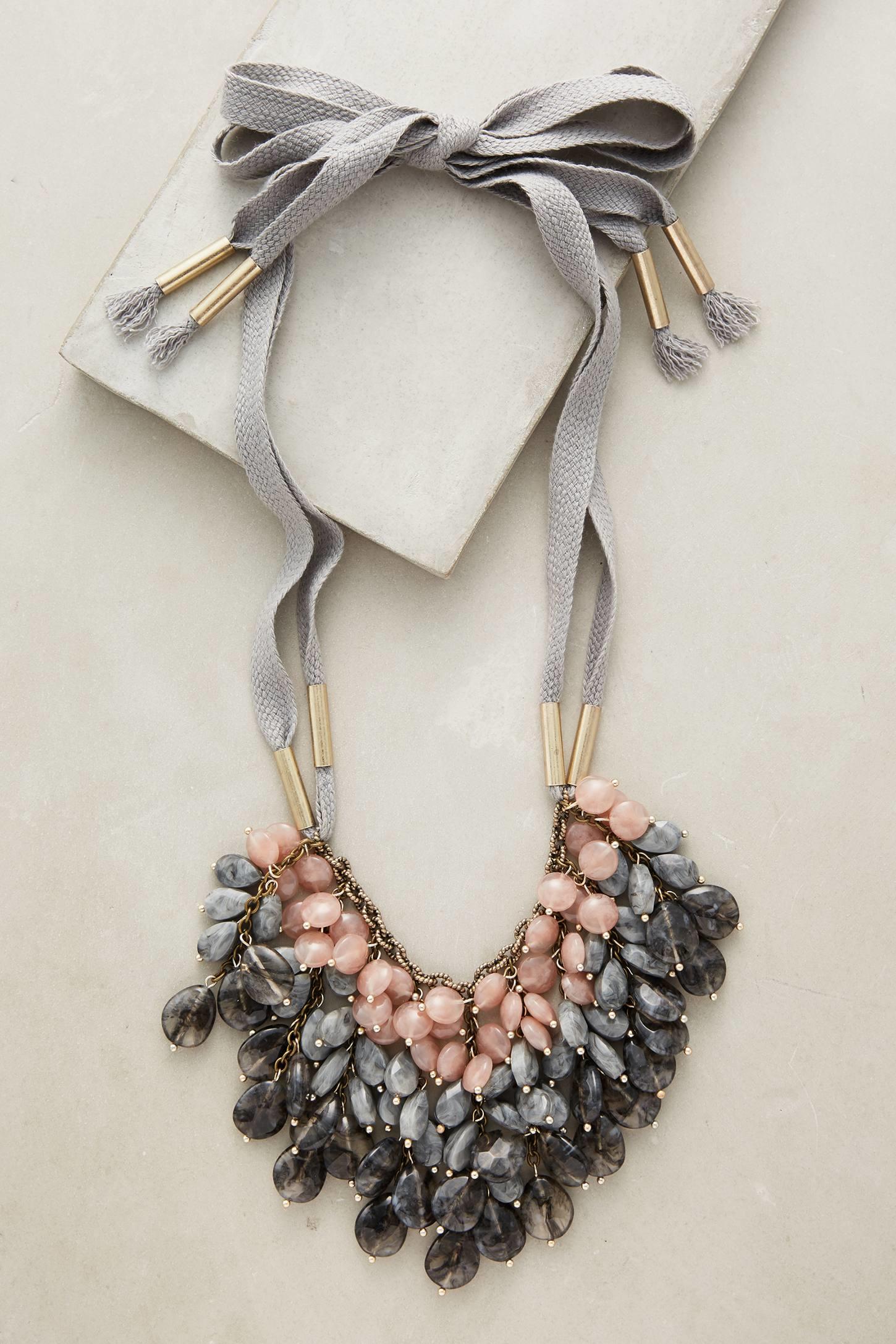 anthropologie balletomane bib necklace in gray lyst