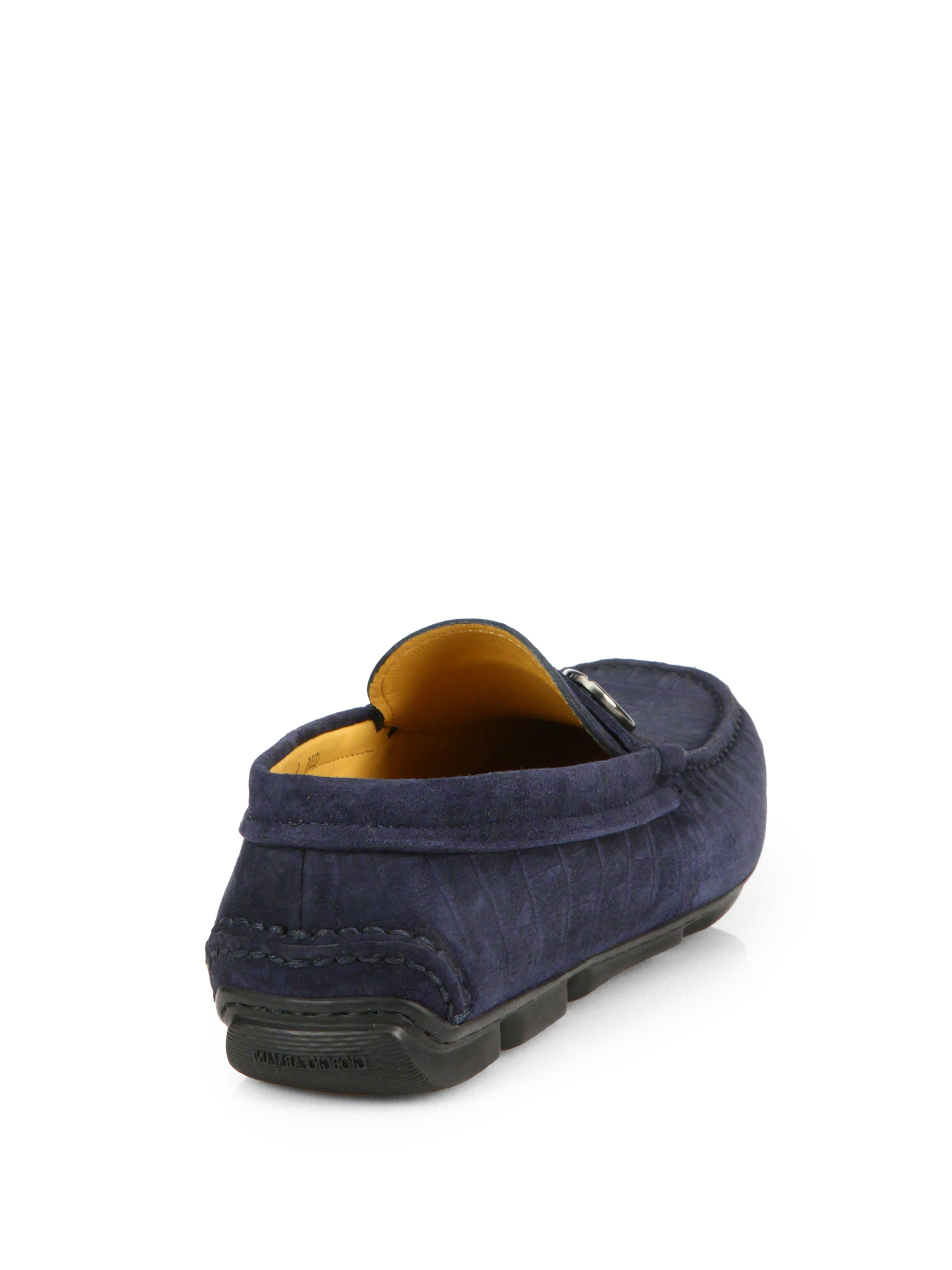 db575bea2f65 Lyst - Giorgio Armani Croc-Embossed Suede Driving Loafers in Blue ...