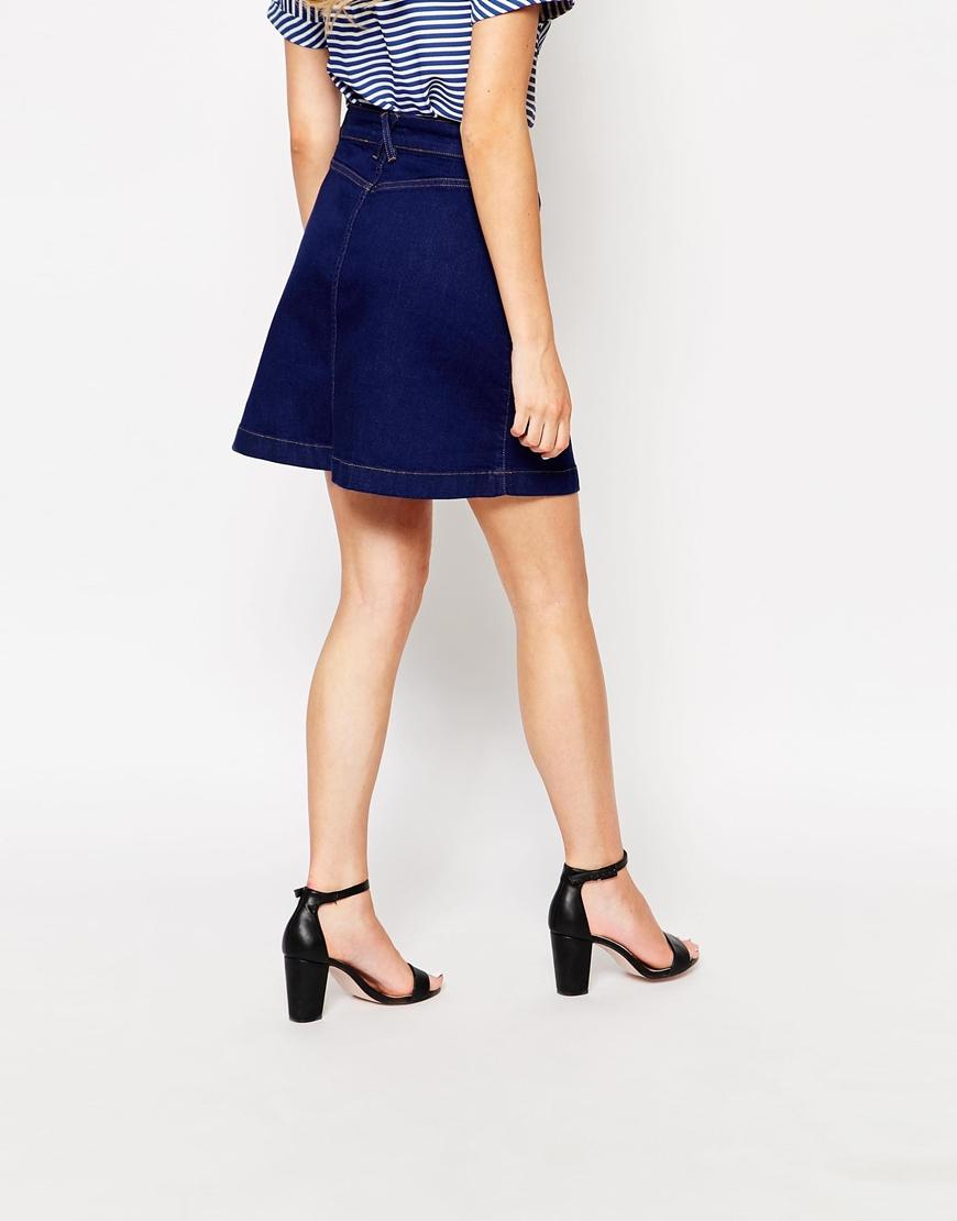 oasis button through denim mini skirt in blue lyst