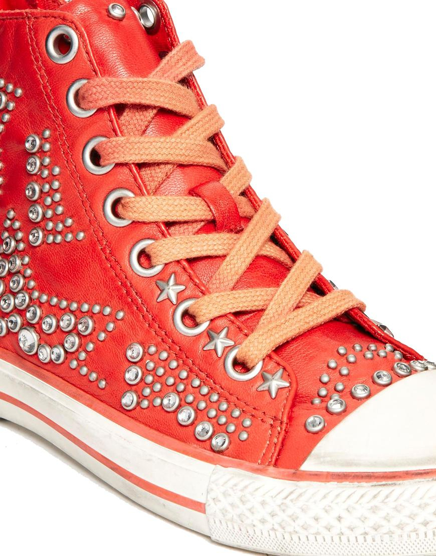 Vibration Ash Up Sneakers Lace Coral Stud Red QxstrdhC