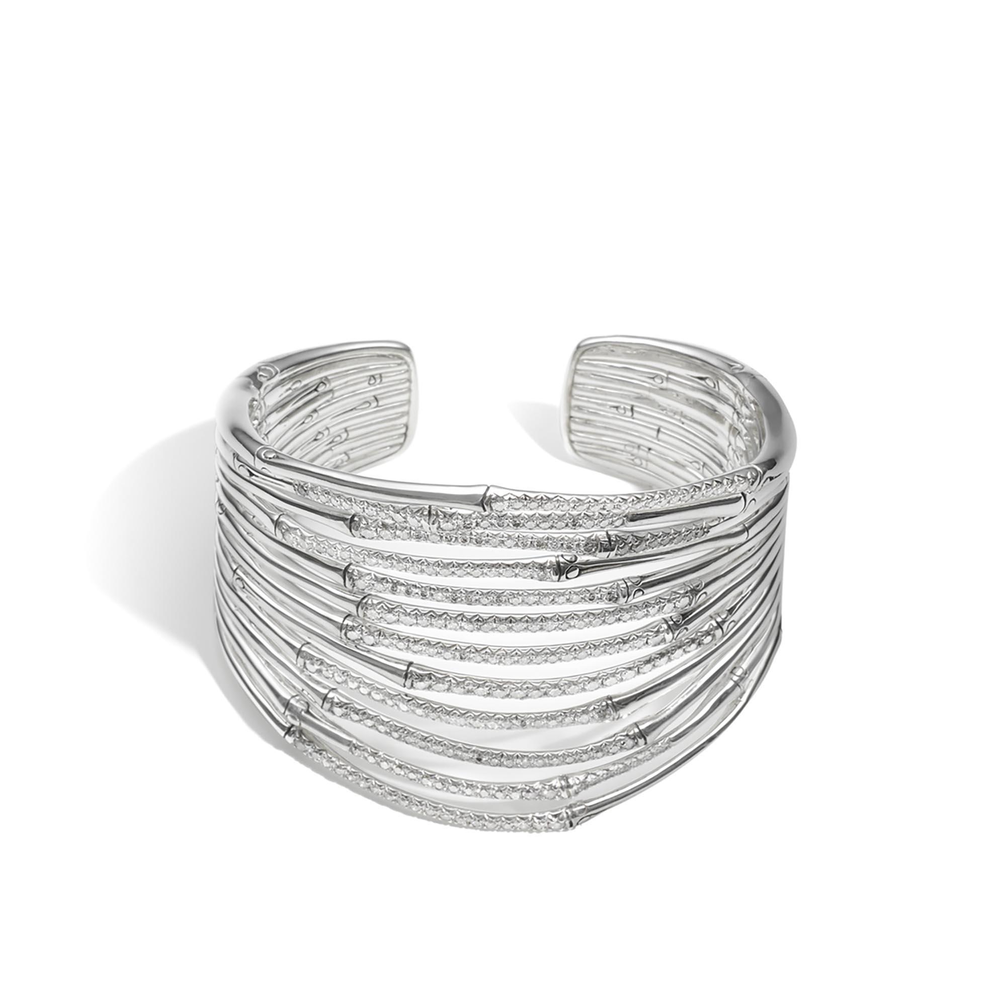 John Hardy Bamboo Wide Flex Cuff In Silver Lyst
