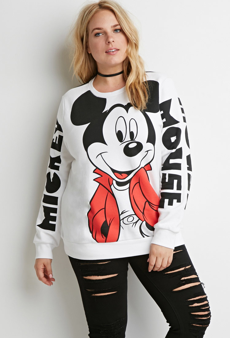 1fa37e3bc08 Lyst - Forever 21 Plus Size Mickey Mouse Graphic Sweatshirt in Black