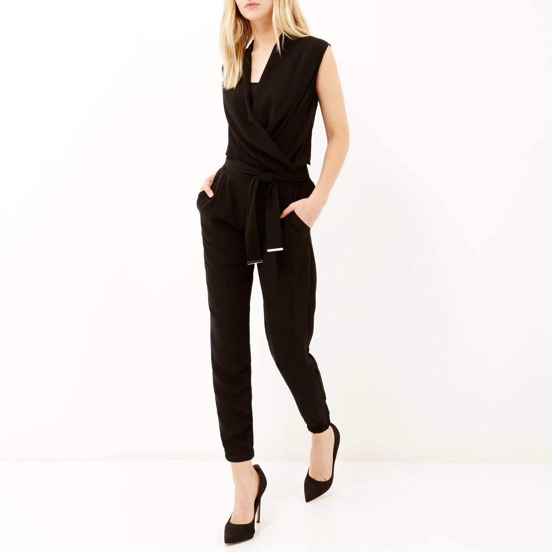 River island Black Smart Belted Wrap Jumpsuit in Black | Lyst