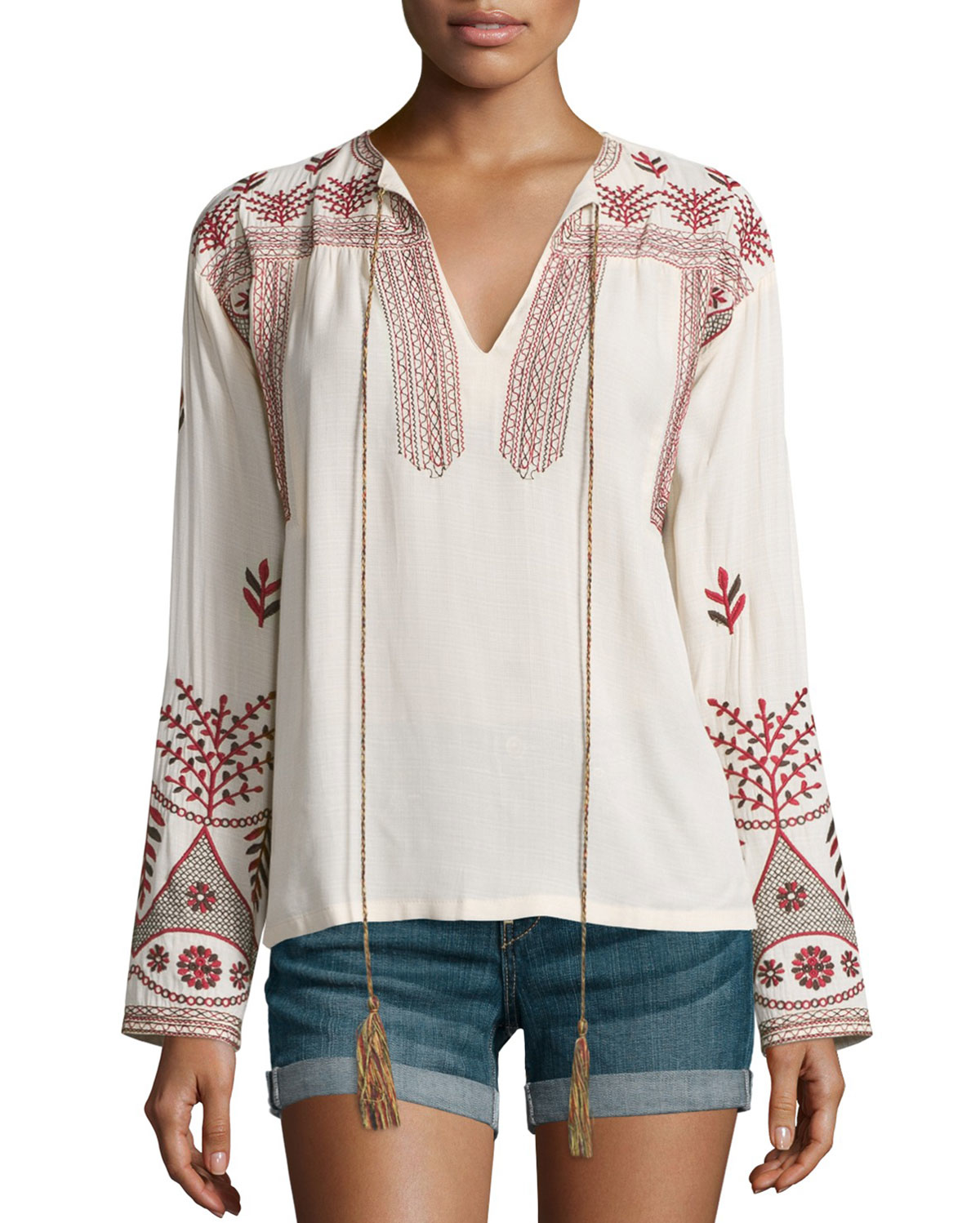Lyst misa luna long sleeve embroidered top in natural