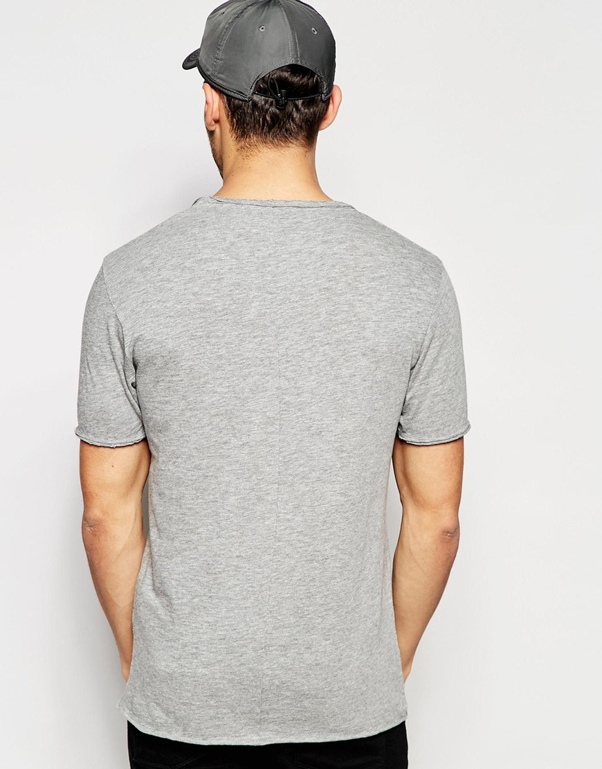 Lyst selected scoop neck t shirt in gray for men for Scoop neck t shirt