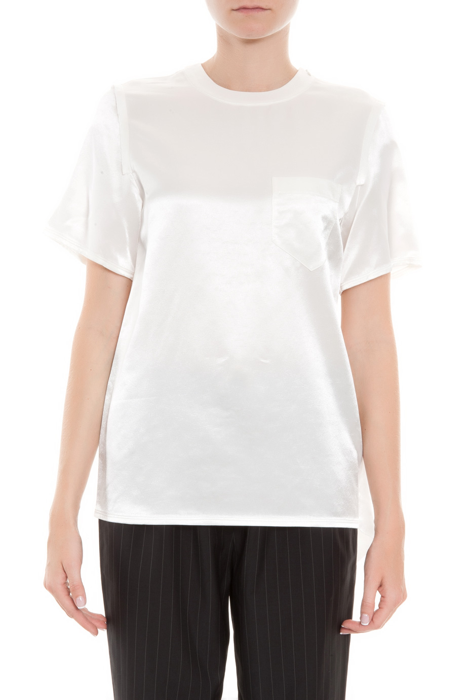alexander wang t shirt with distressed back in white lyst. Black Bedroom Furniture Sets. Home Design Ideas