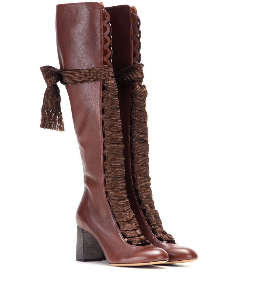chlo 233 leather knee high boots in brown lyst