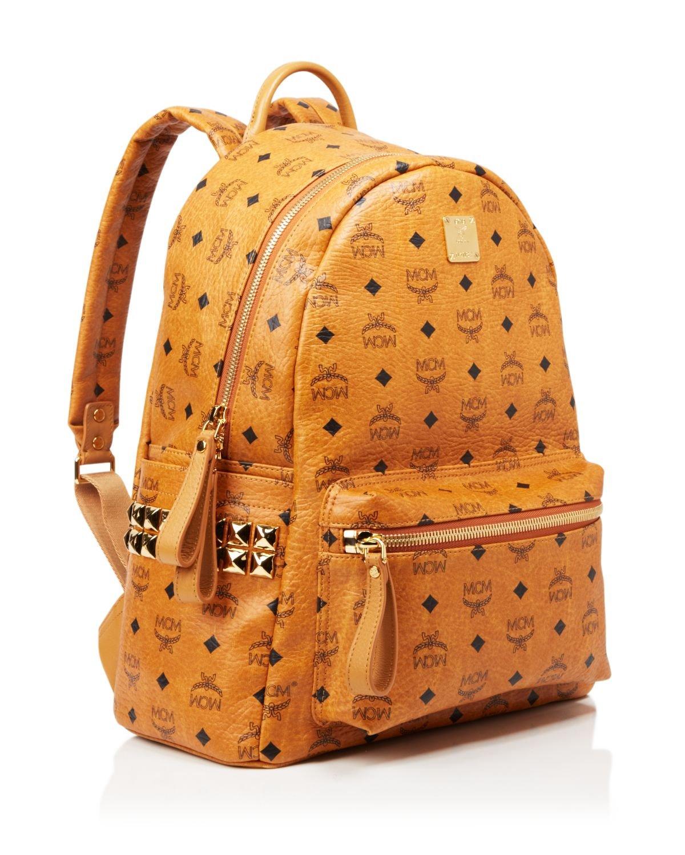 lyst mcm stark stud medium backpack in brown for men. Black Bedroom Furniture Sets. Home Design Ideas