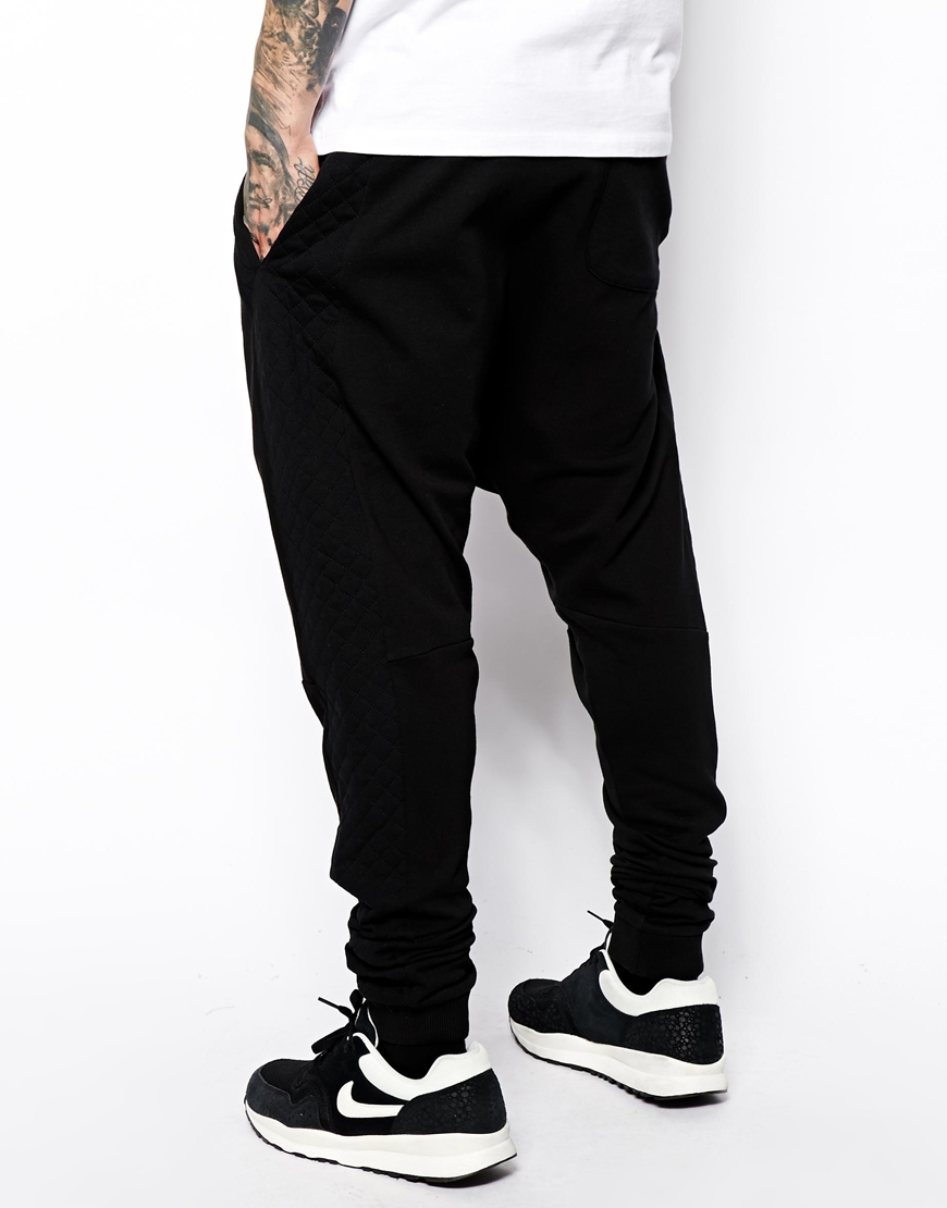 Lyst Asos Drop Crotch Sweatpants With Quilting In Black