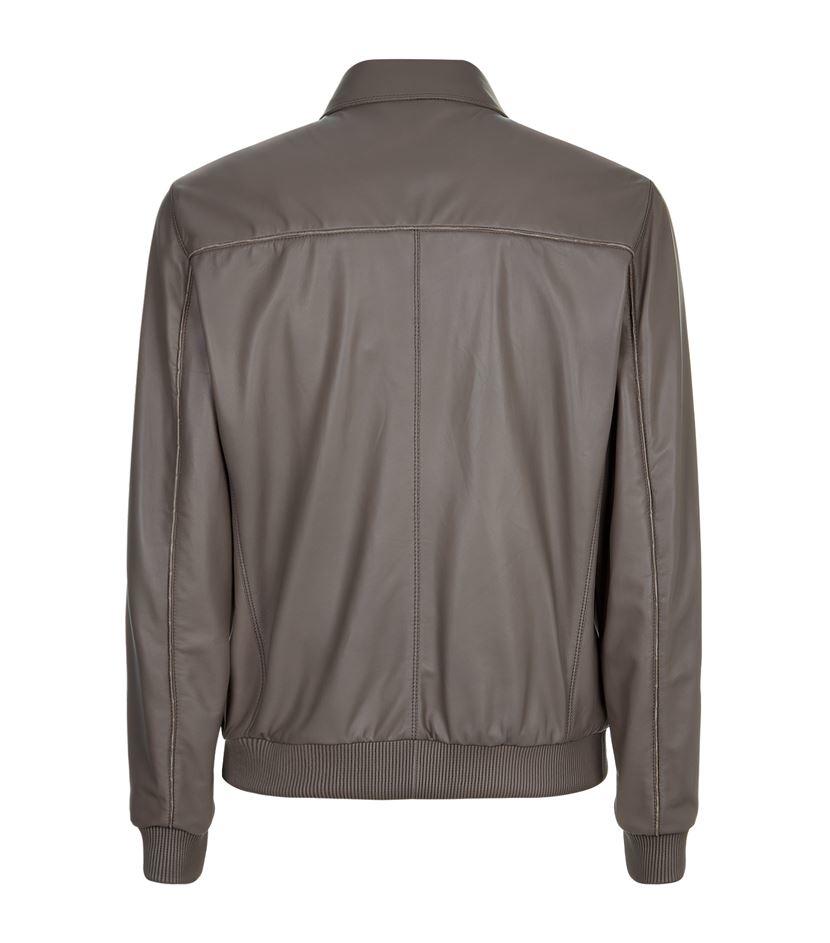 Stefano Ricci Crocodile Trim Leather Jacket in Grey for Men