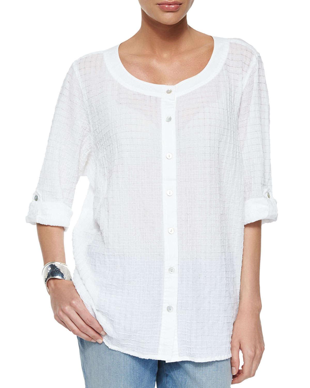 Lyst eileen fisher organic cotton voile box shirt in white for Eileen fisher organic cotton t shirt