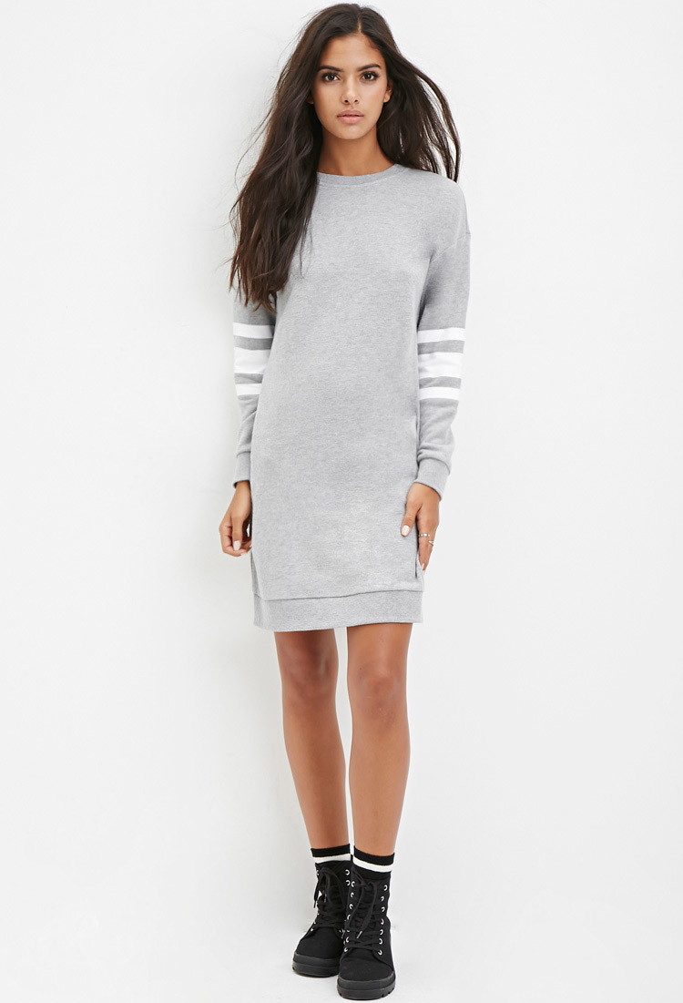 560a05a9697 Forever 21 Varsity-striped Sweatshirt Dress in Gray - Lyst