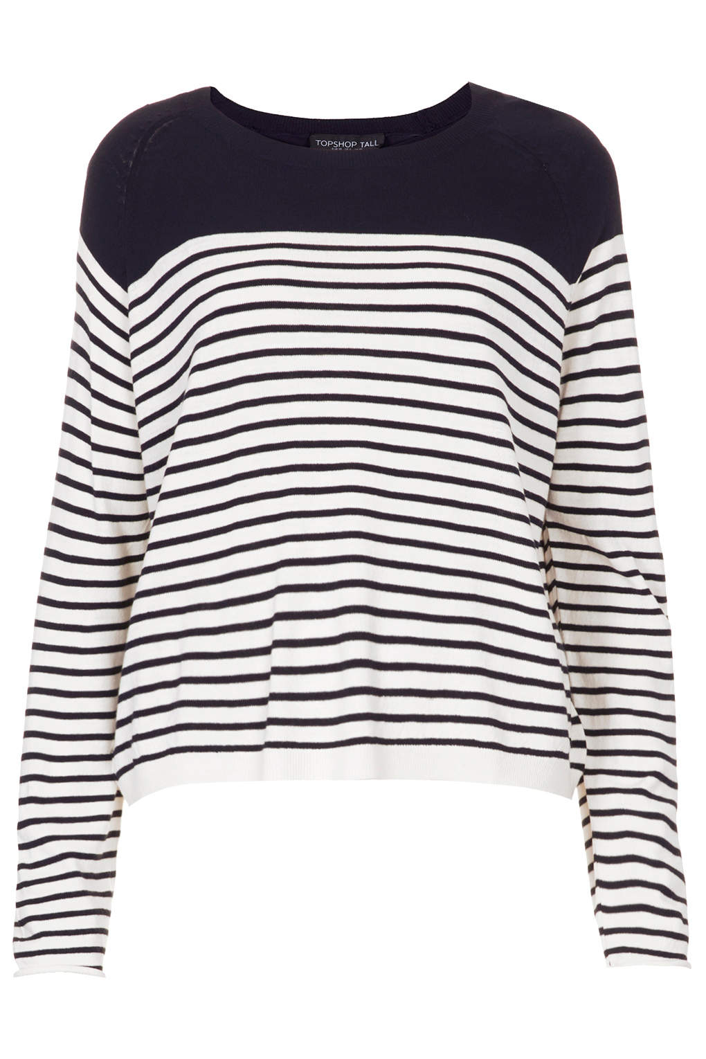 topshop tall knitted stripe jumper in white