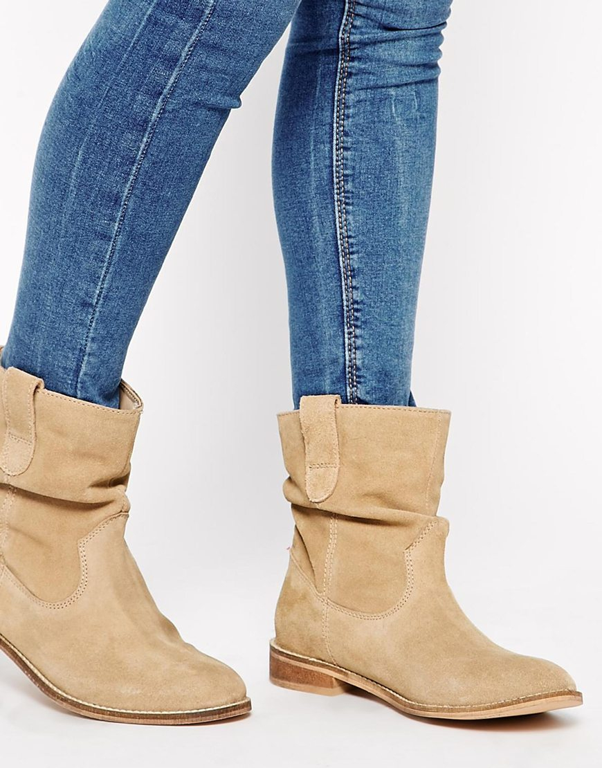 5d71a72b311 ASOS Natural Aloof Suede Pull On Ankle Boots