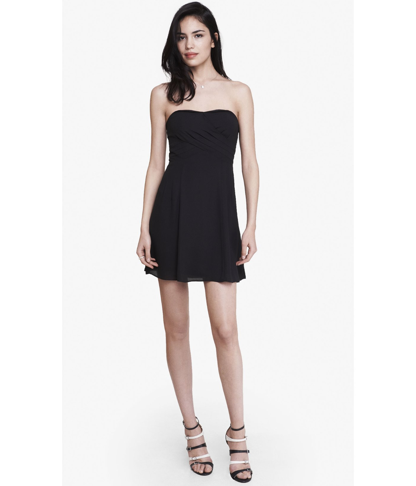 ea3299b1211 Express Black Strapless Crepe Fit And Flare Dress in Black - Lyst