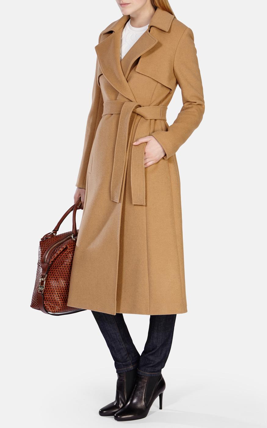 Karen Millen Wool Longline Camel Trenchcoat In Brown Lyst