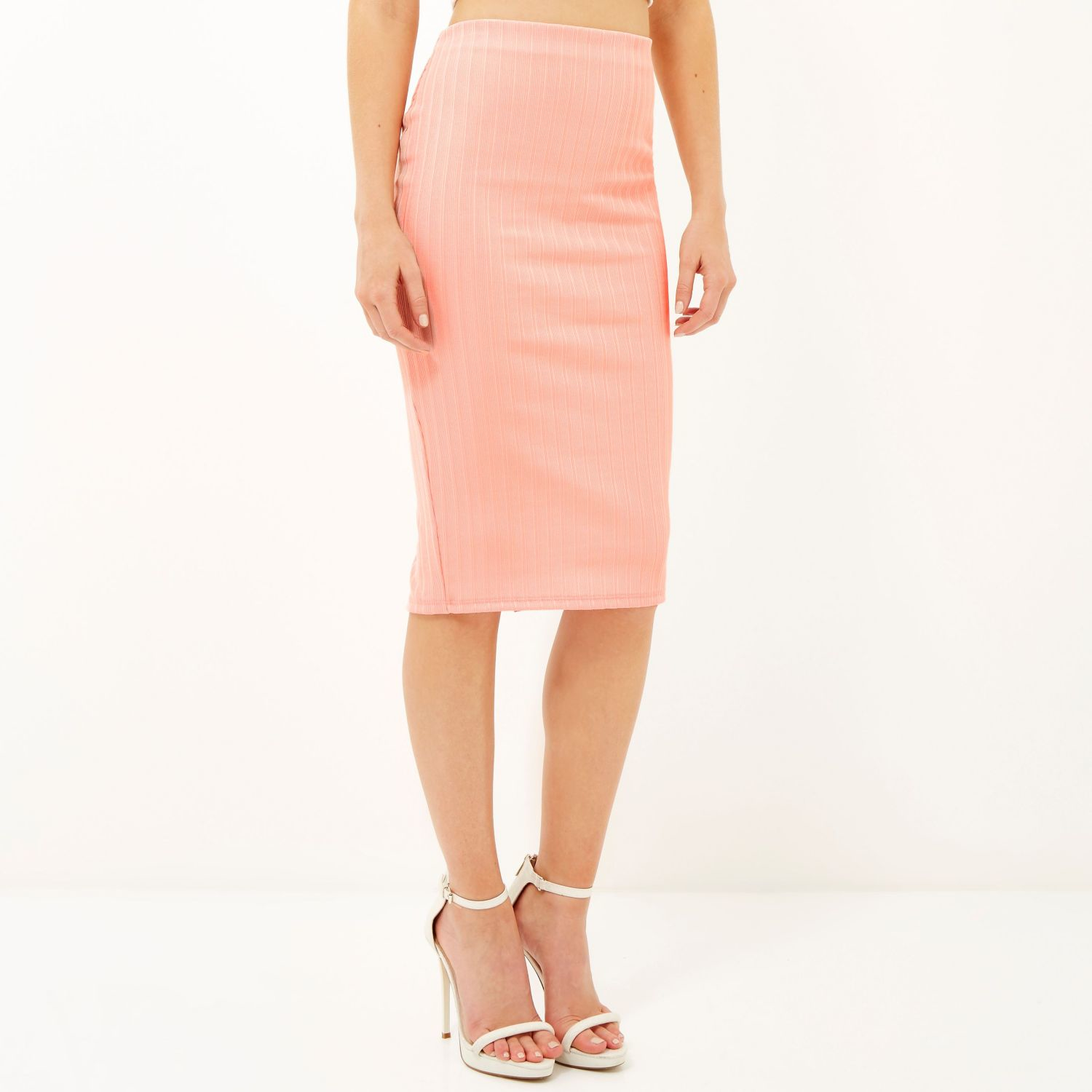 River island Light Pink Ribbed Pencil Skirt in Pink | Lyst