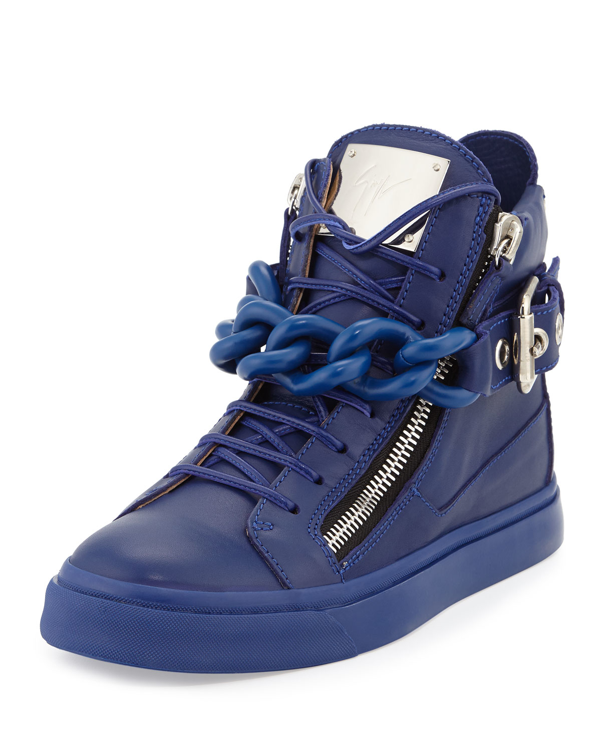 Giuseppe zanotti Chain Leather High-Top Sneakers in Blue ...