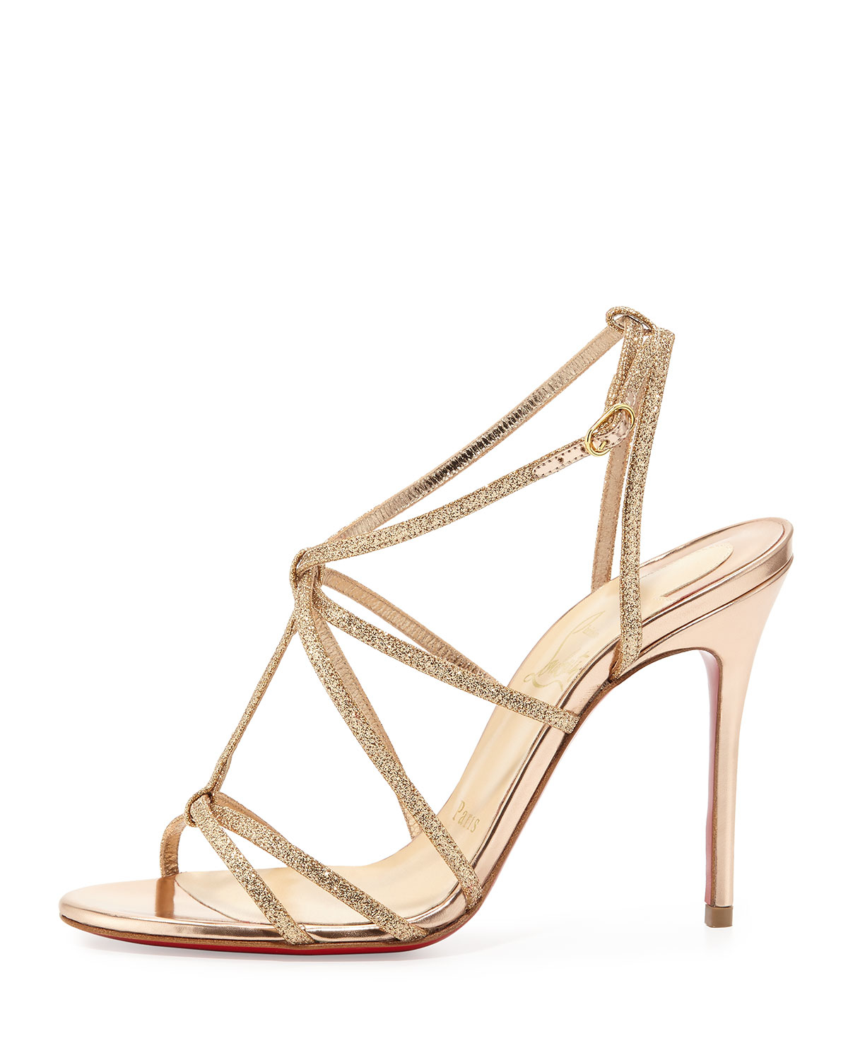 Christian louboutin Youpiyou Glitter Sandals in Beige (NUDE) | Lyst