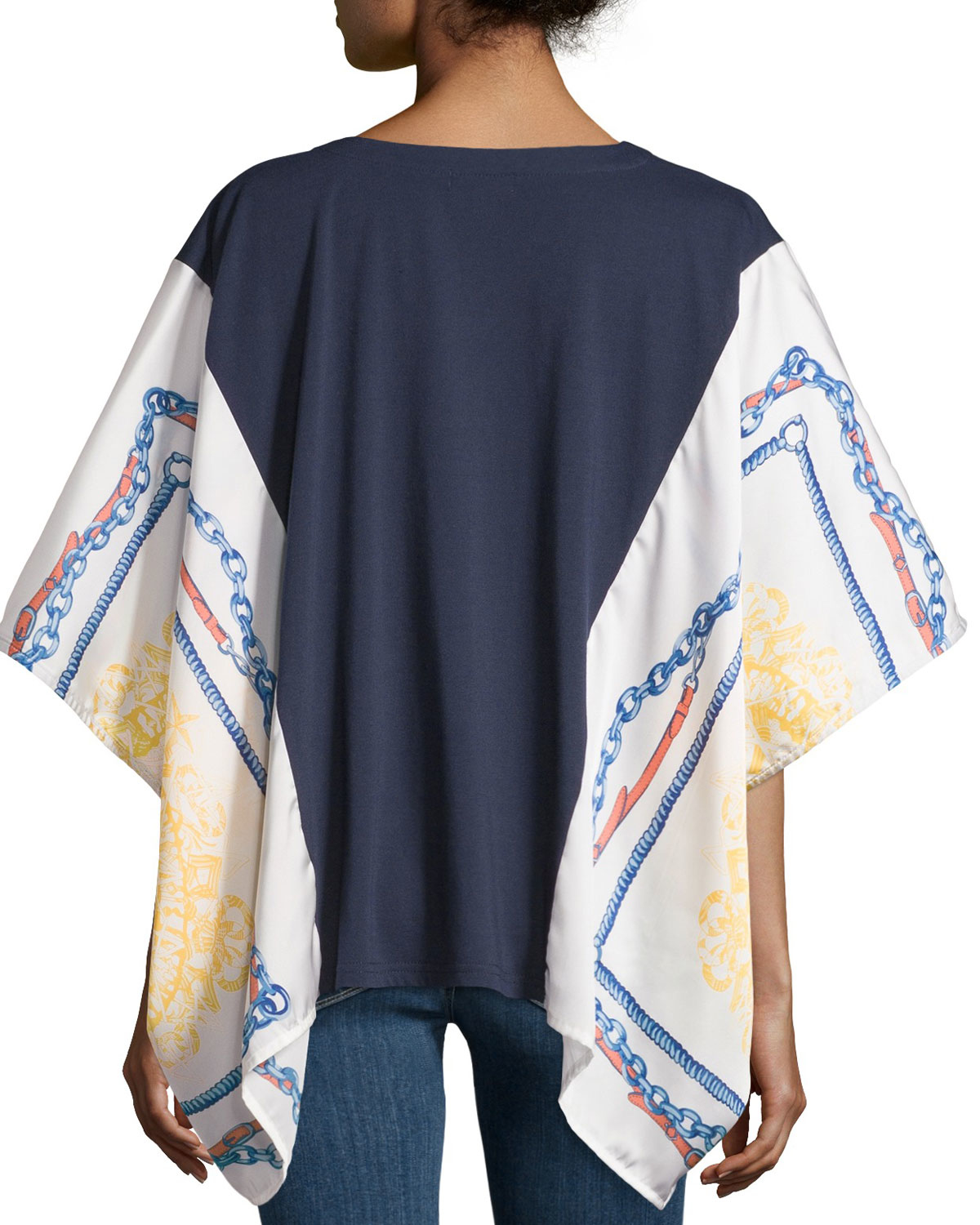 neiman scarf print v neck tunic in blue navy lyst