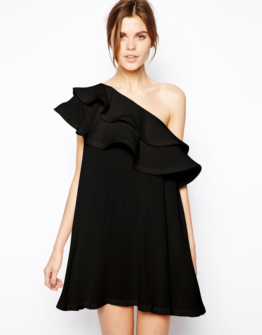 Asos Swing Dress With Asymmetric Frill In Black Lyst
