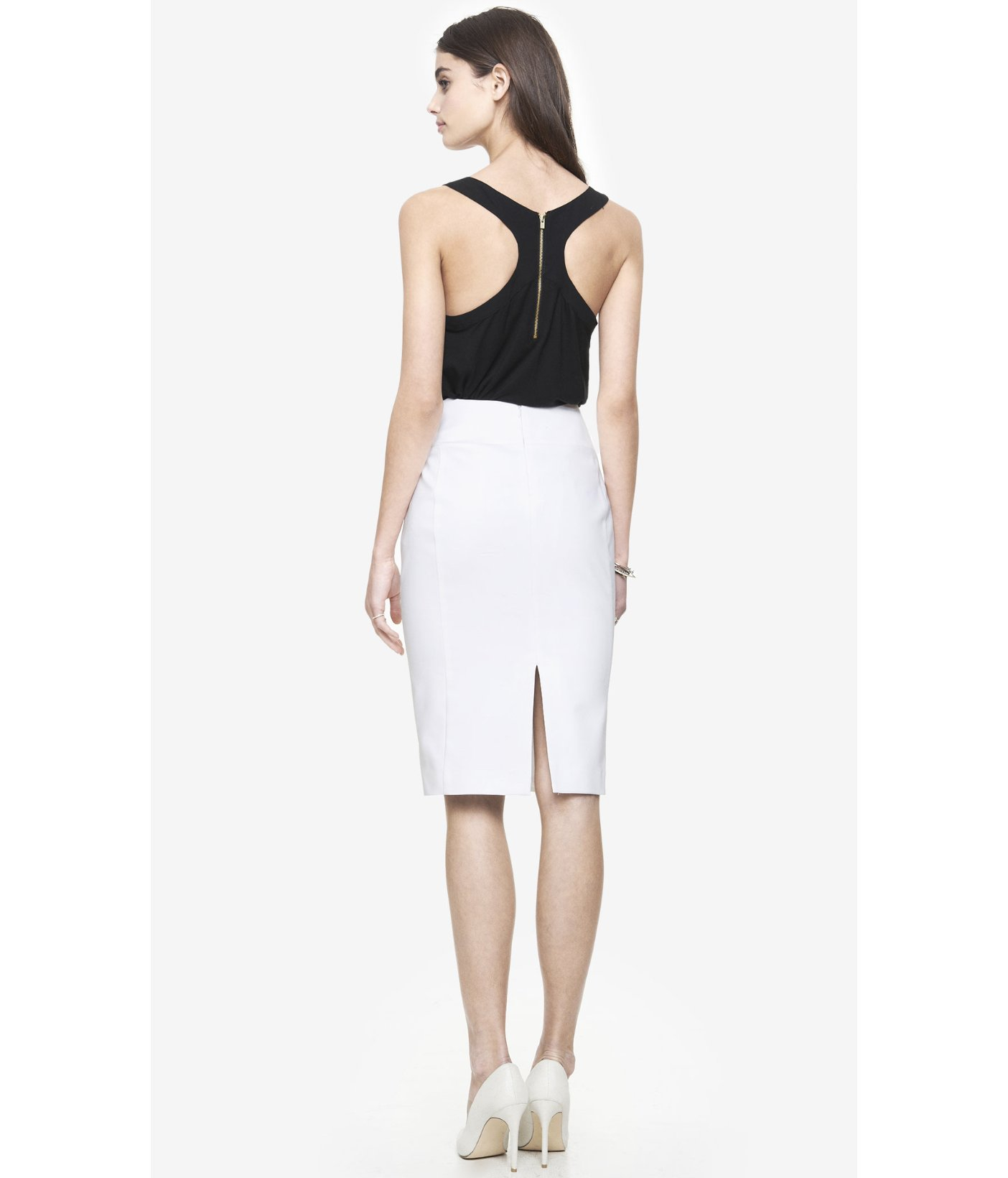 Express High Waist Midi Pencil Skirt - White in White ...