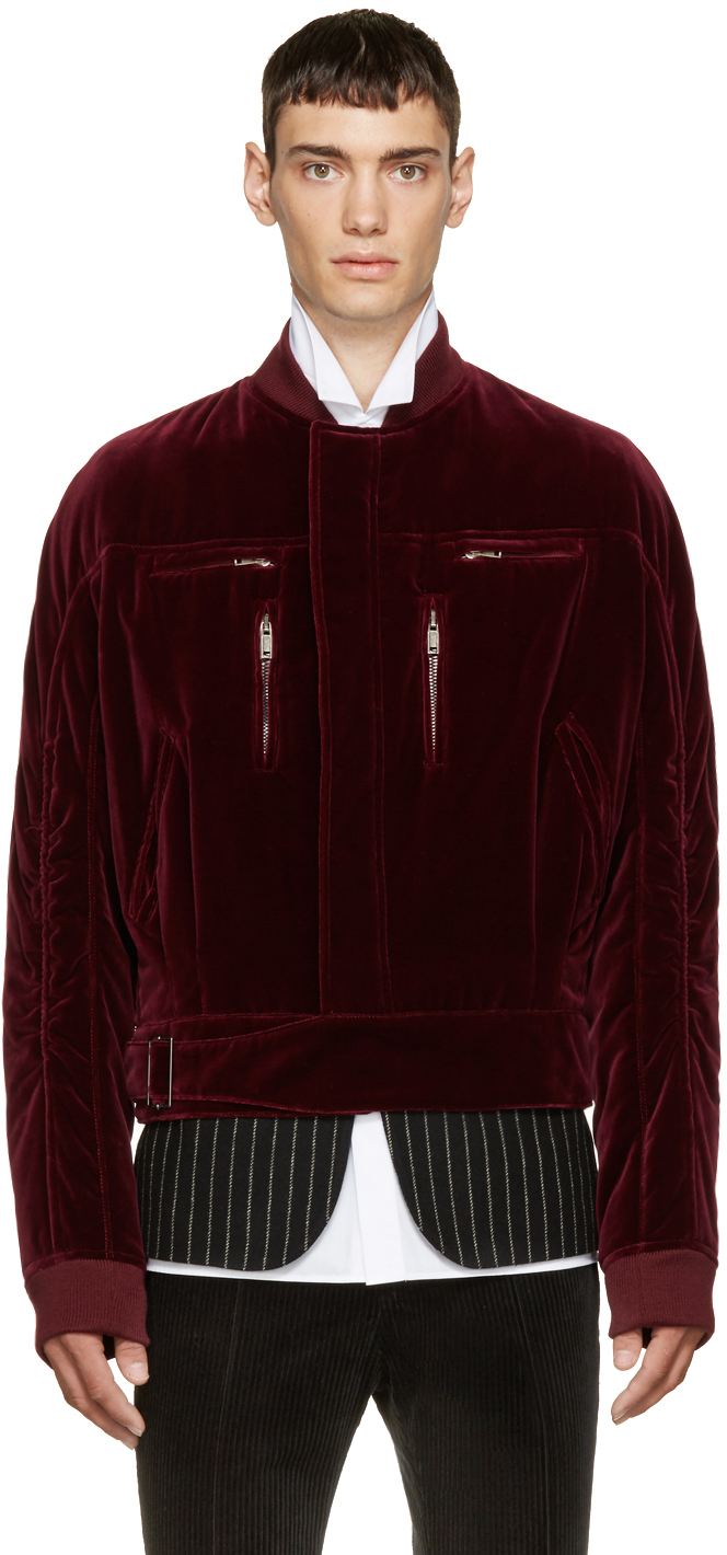 d3a42d525 Haider Ackermann Purple Burgundy Velvet Ruched Bomber Jacket for men