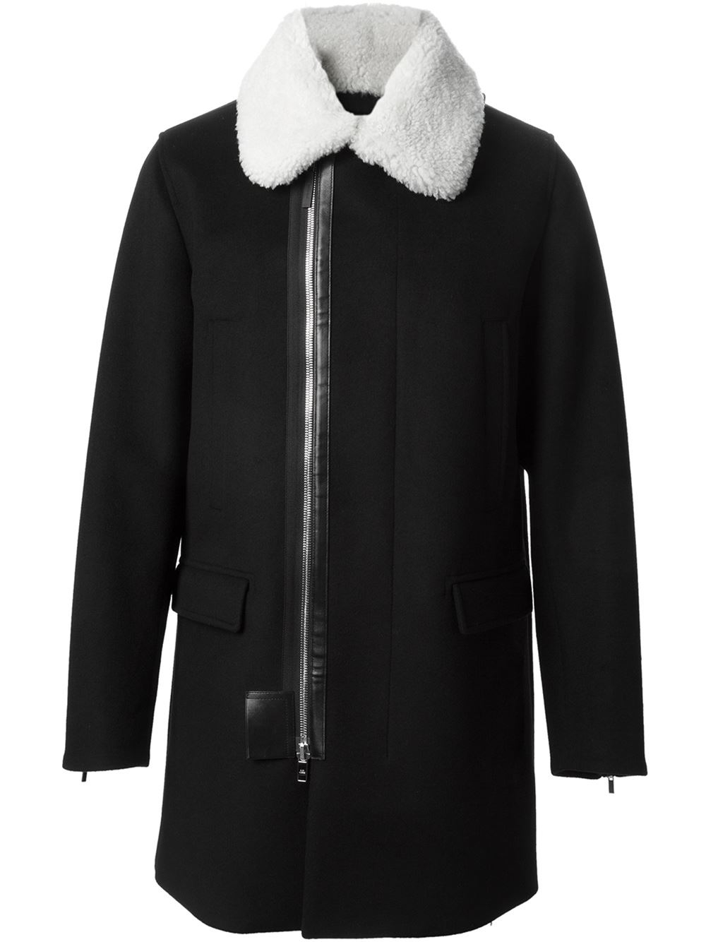 Dior homme Shearling Collar Coat in Black for Men | Lyst