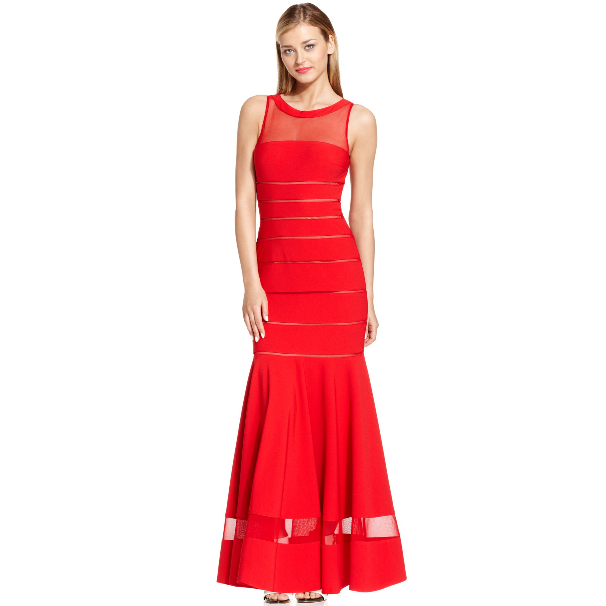 Js collections illusion stripe mermaid gown in red lyst