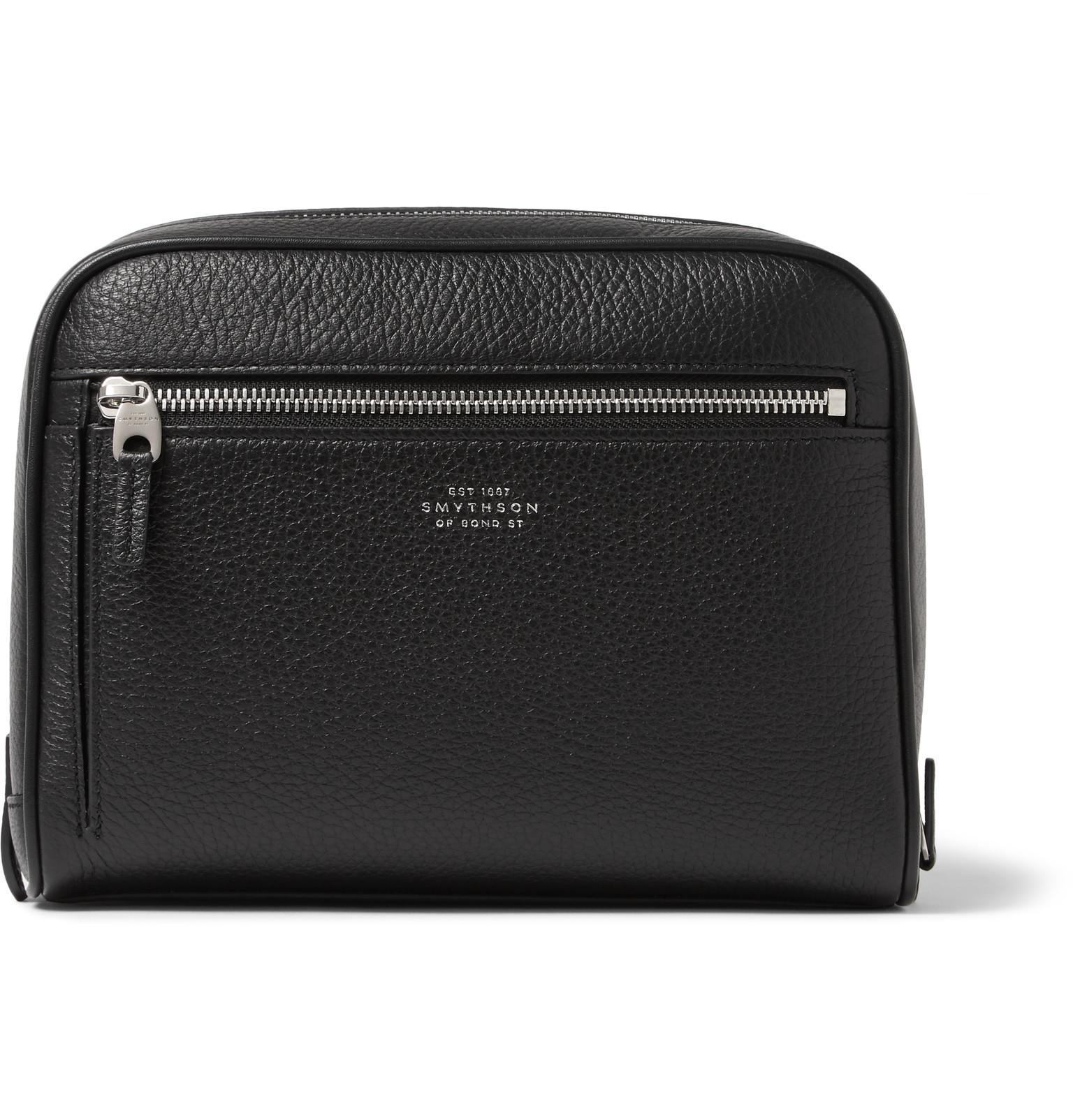 27d06f0746 Smythson Burlington Grained-leather Wash Bag in Black for Men - Lyst