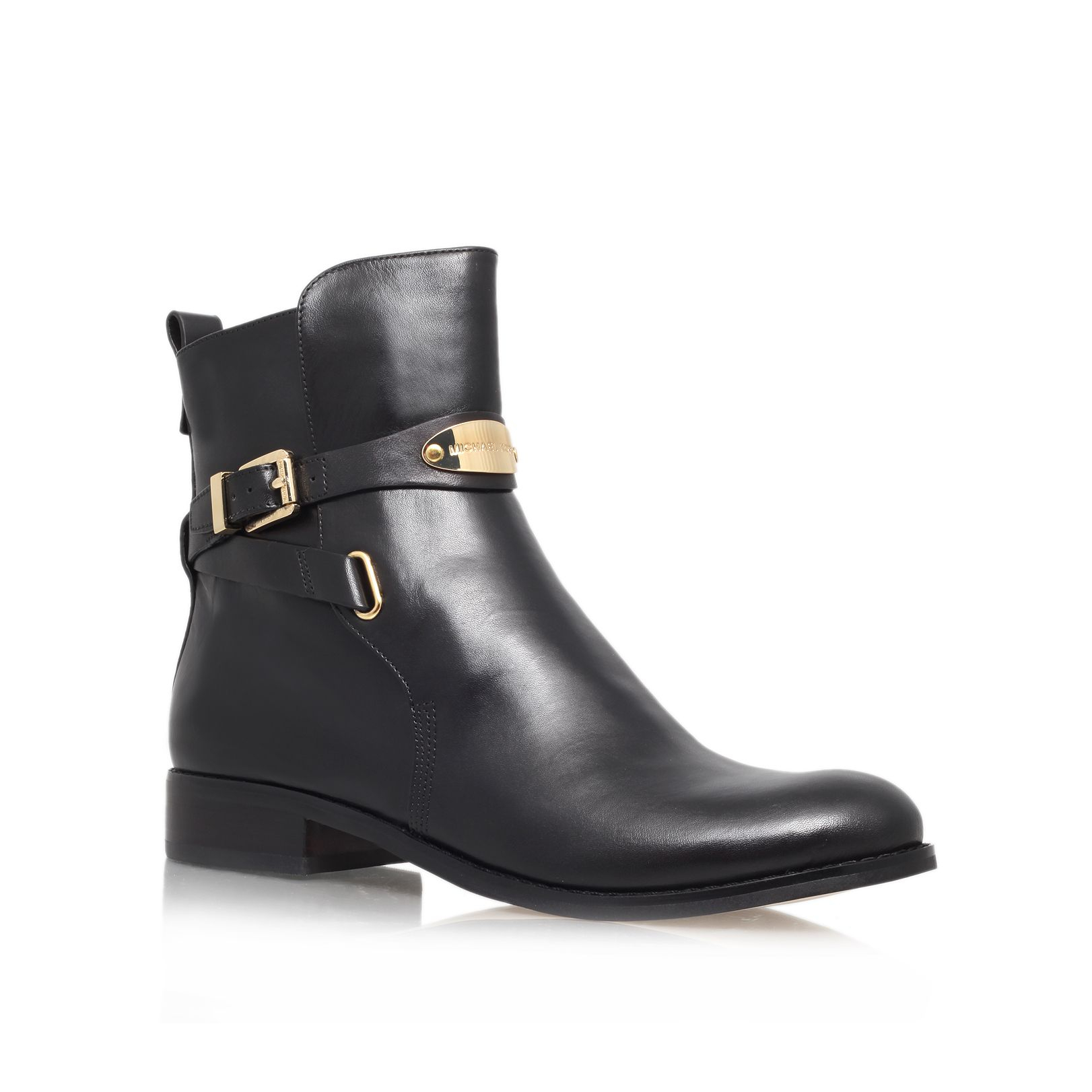 michael kors arley leather ankle boots in black lyst
