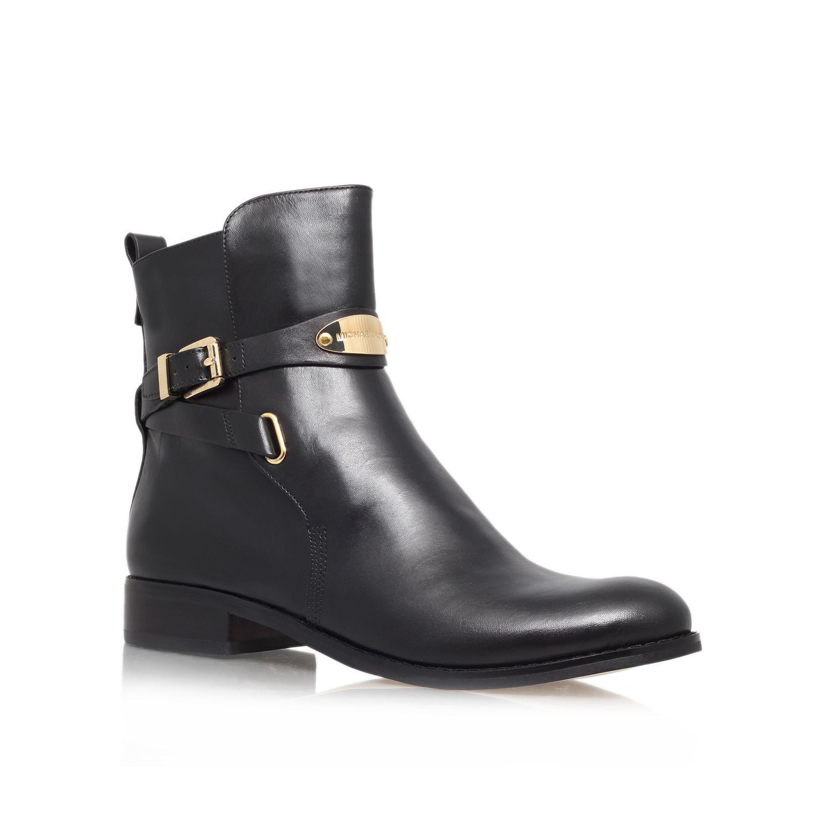 michael kors arley leather ankle boots in black lyst. Black Bedroom Furniture Sets. Home Design Ideas