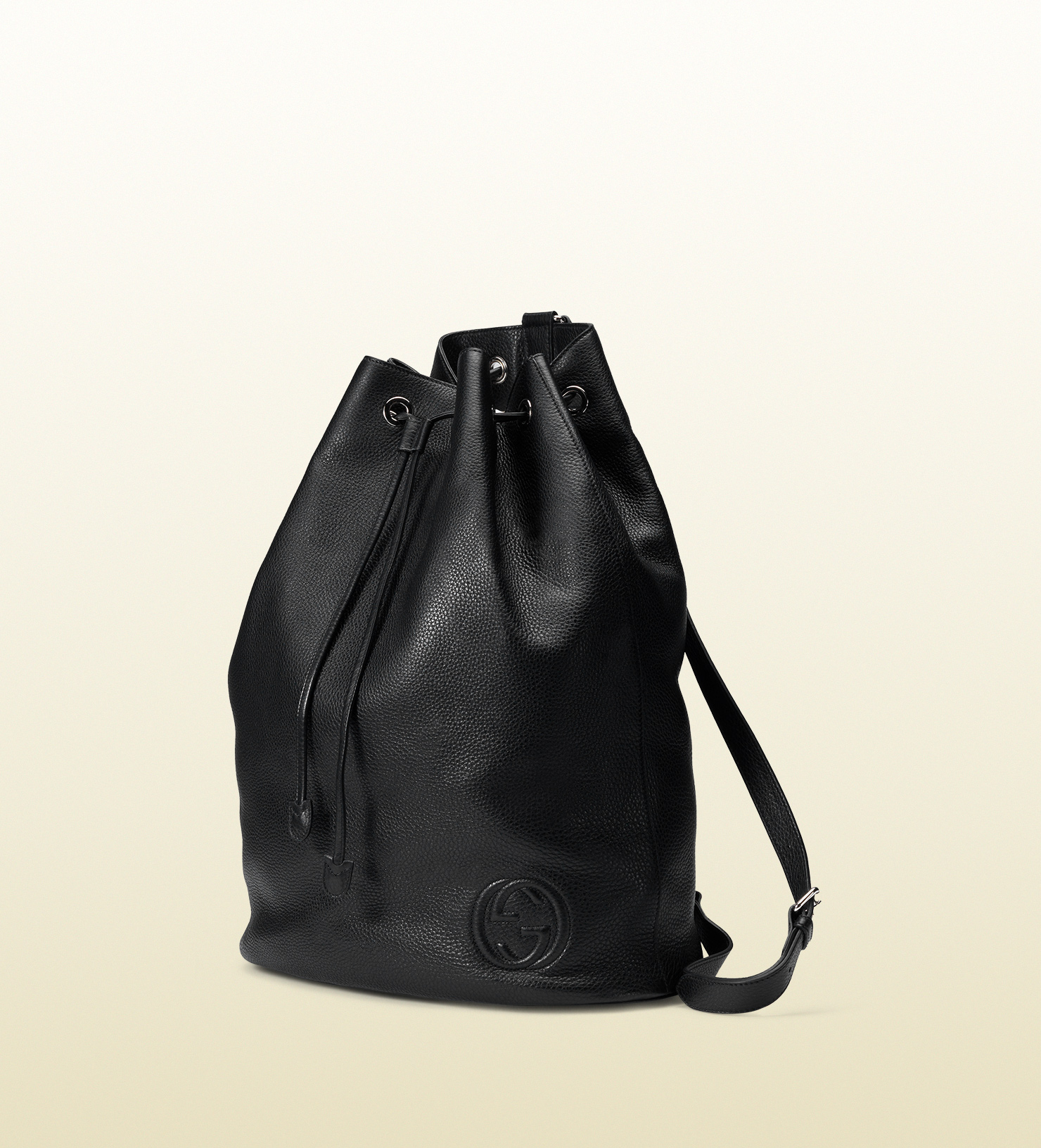 96401ccec24 Lyst - Gucci Soho Leather Drawstring Backpack in Black for Men