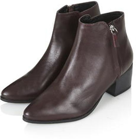 topshop bardot heeled ankle boots in brown burgundy
