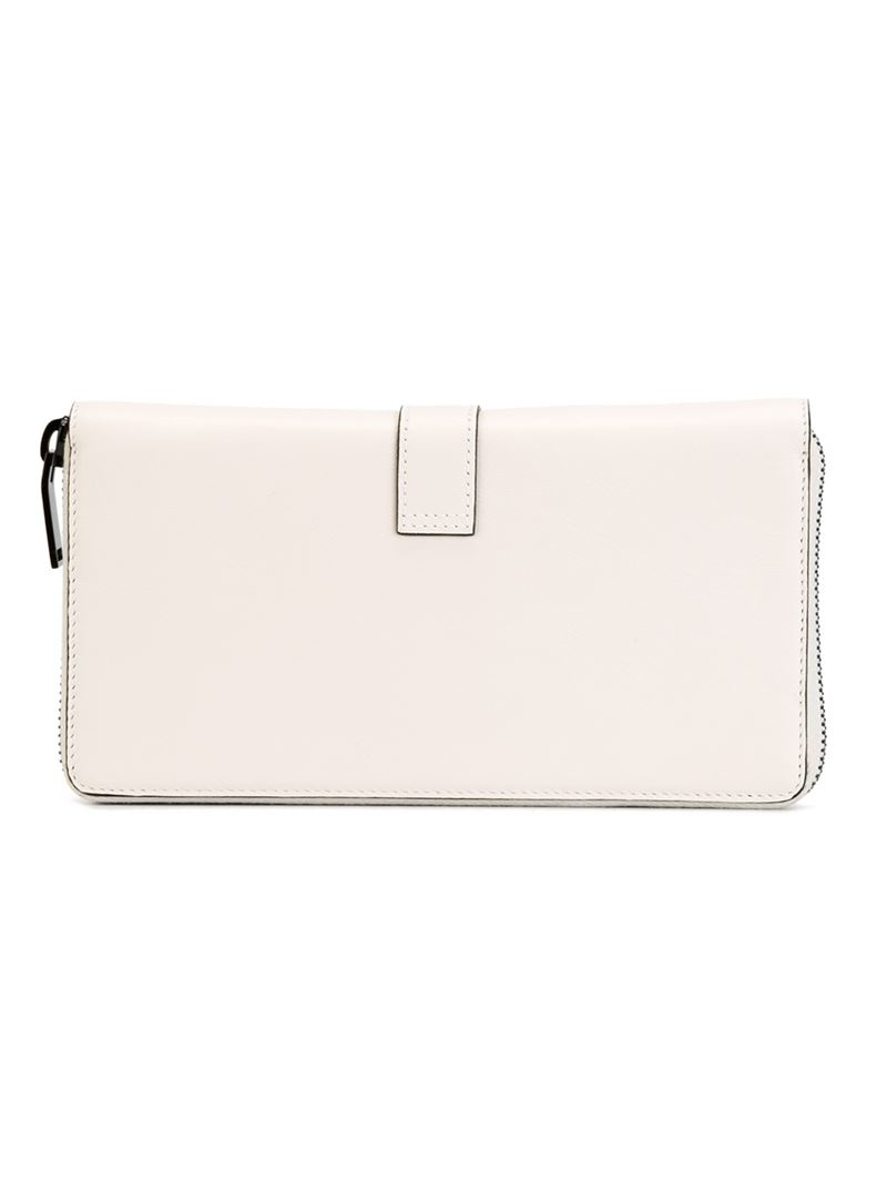 Saint laurent \u0026#39;ysl\u0026#39; Continental Wallet in White | Lyst