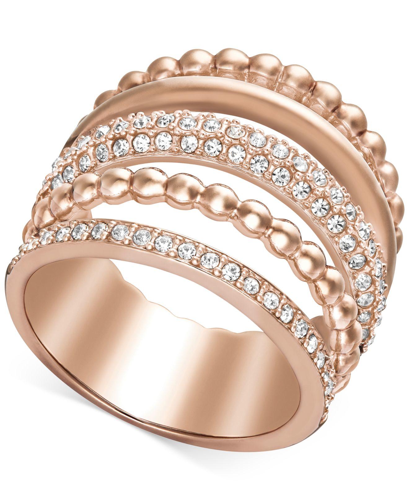 swarovski rose gold tone crystal illusion stack ring in. Black Bedroom Furniture Sets. Home Design Ideas