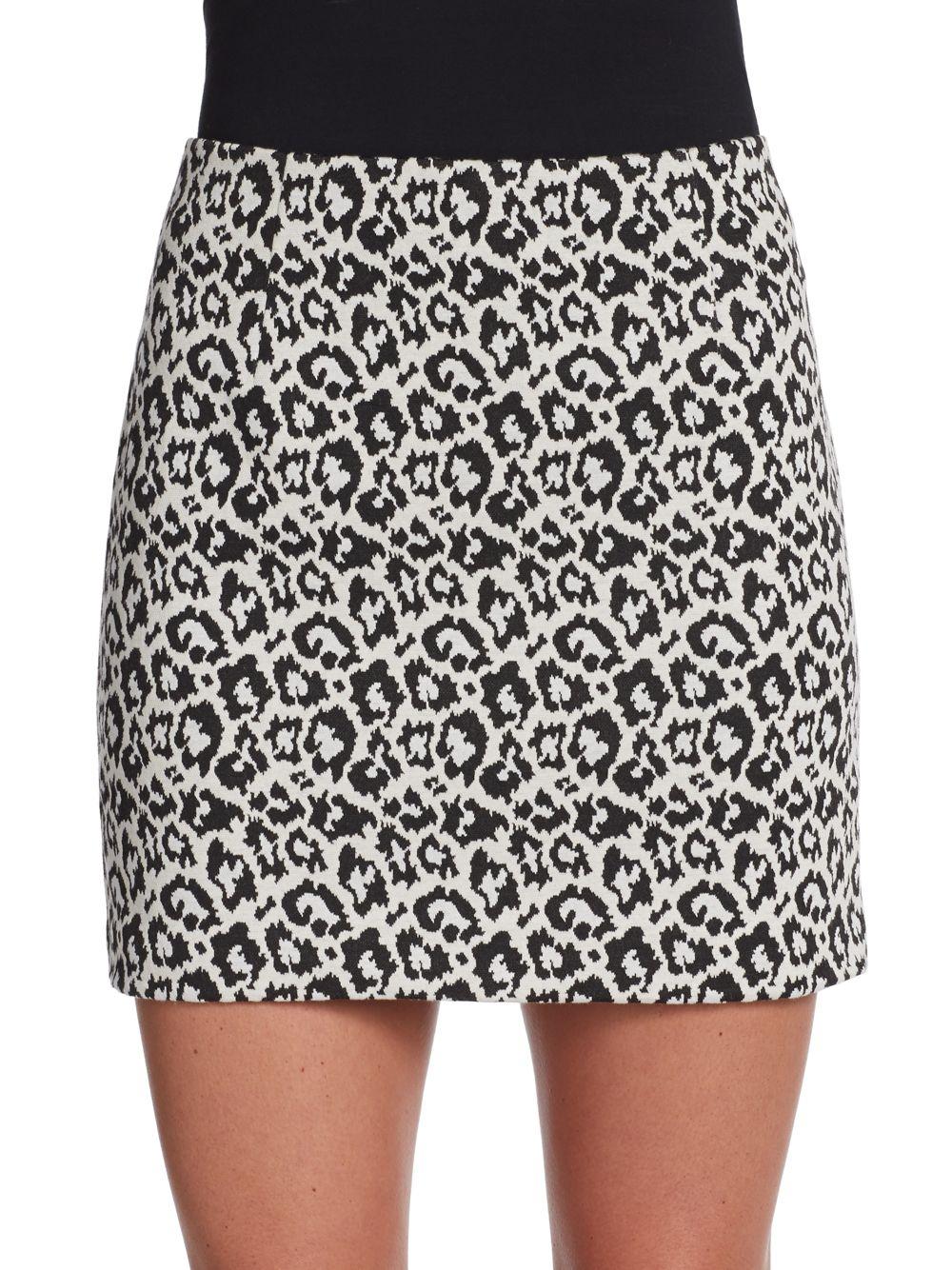 Tibi Leopard-Print Knit Pencil Mini Skirt in Animal (black ...