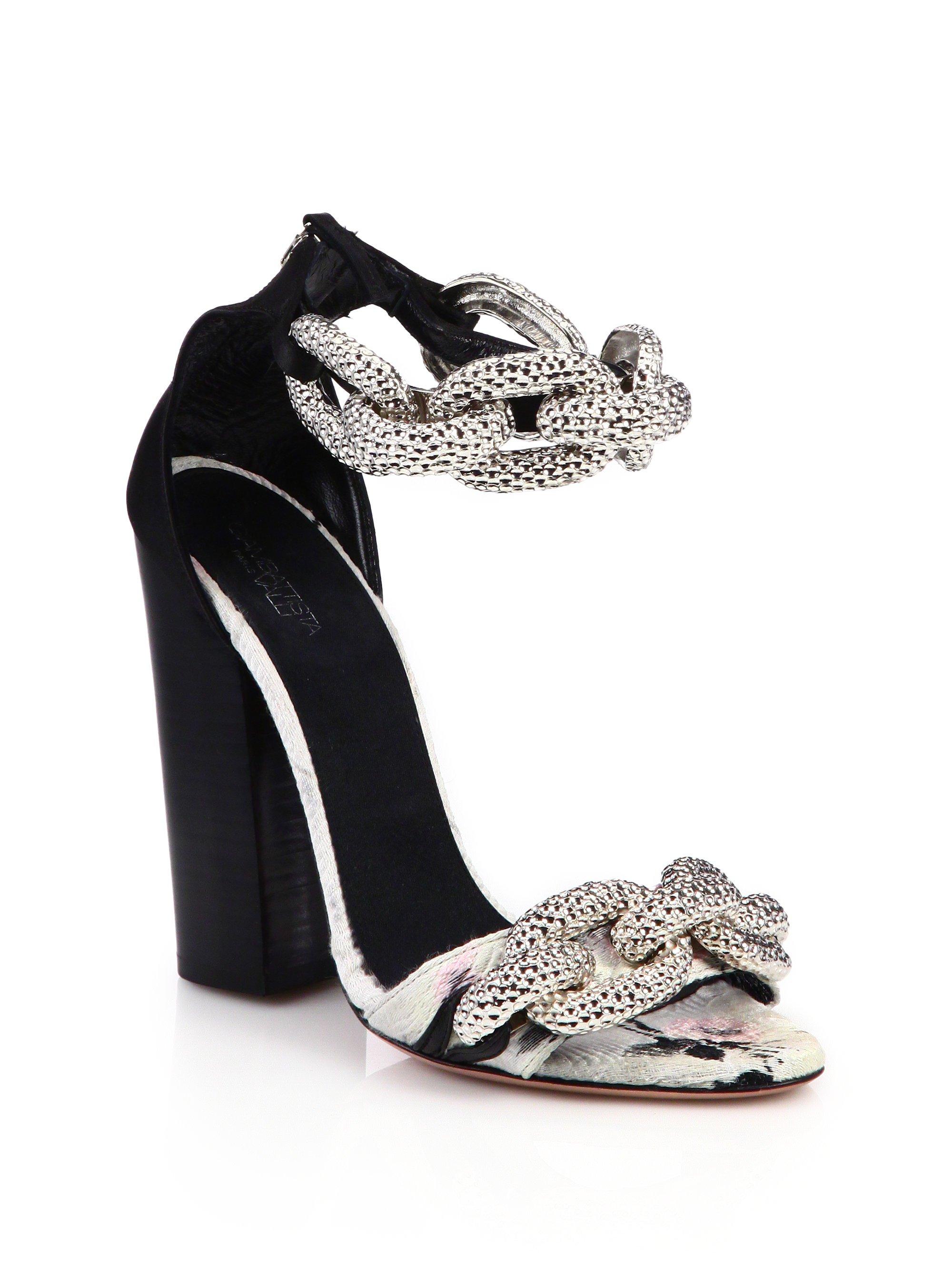 competitive price b7685 71c02 Giambattista Valli Metallic Chain, Fabric & Leather Sandals