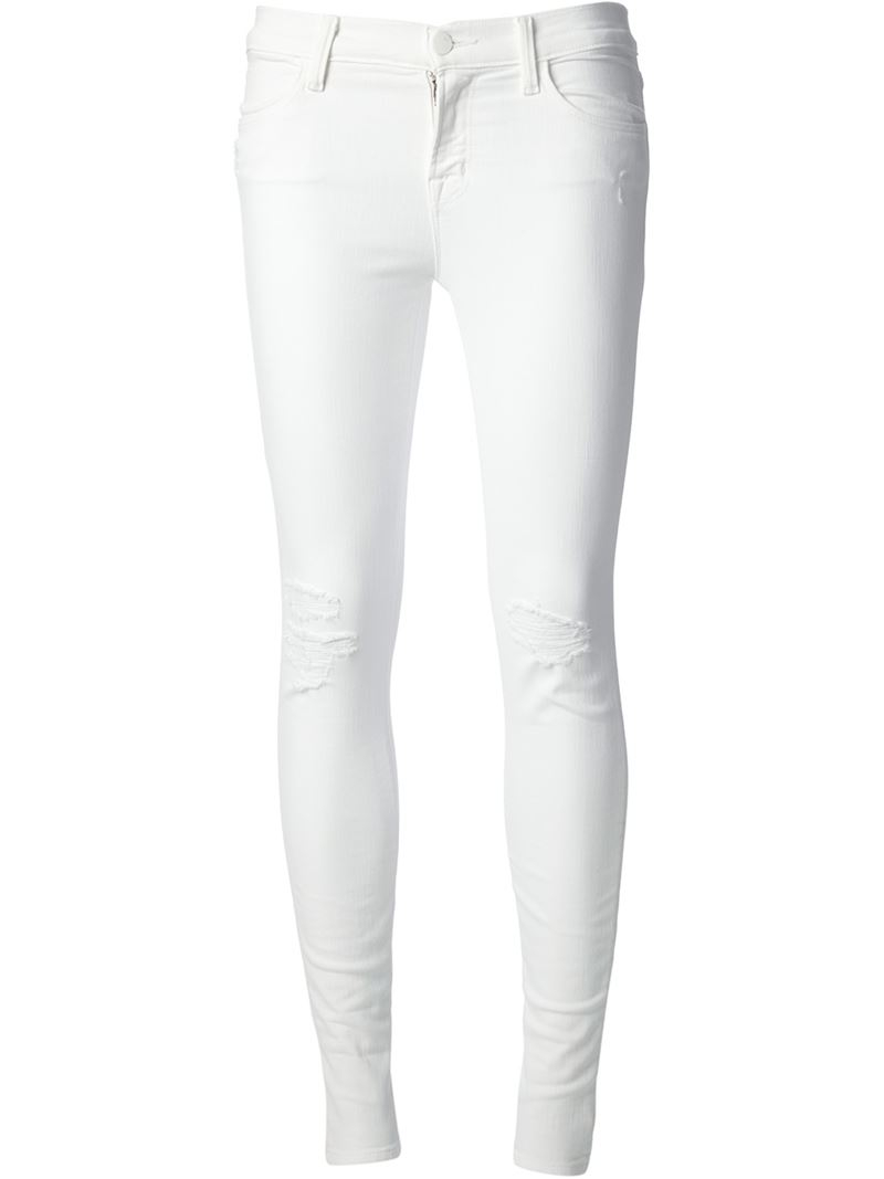 Lyst - J Brand Distressed Skinny Jeans in White