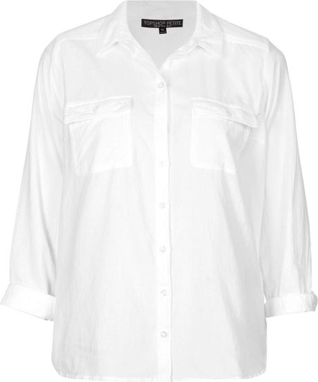 Topshop Petite Casual Chambray Shirt In White Lyst