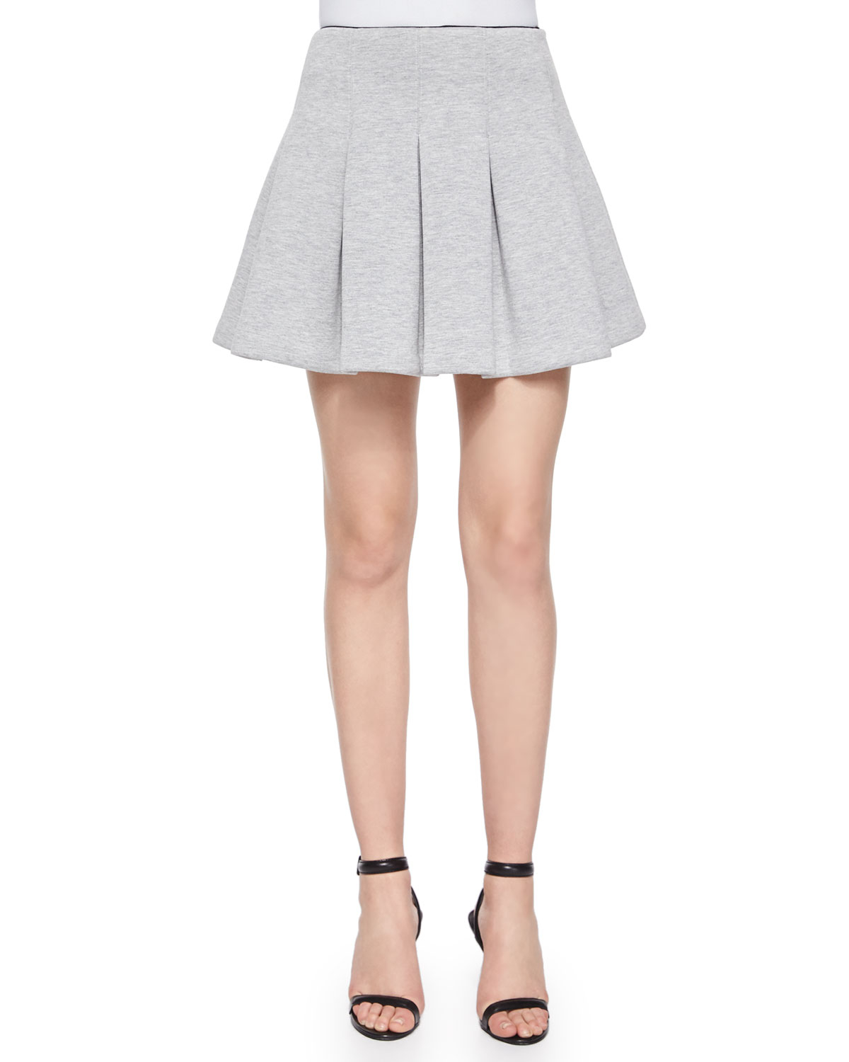 t by wang oxford cotton pleated mini skirt in