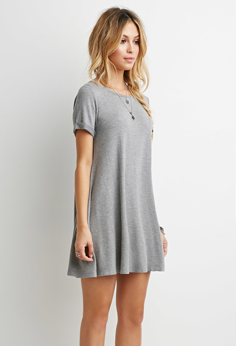 aaeef90a3 Forever 21 Heathered T-shirt Dress in Gray - Lyst