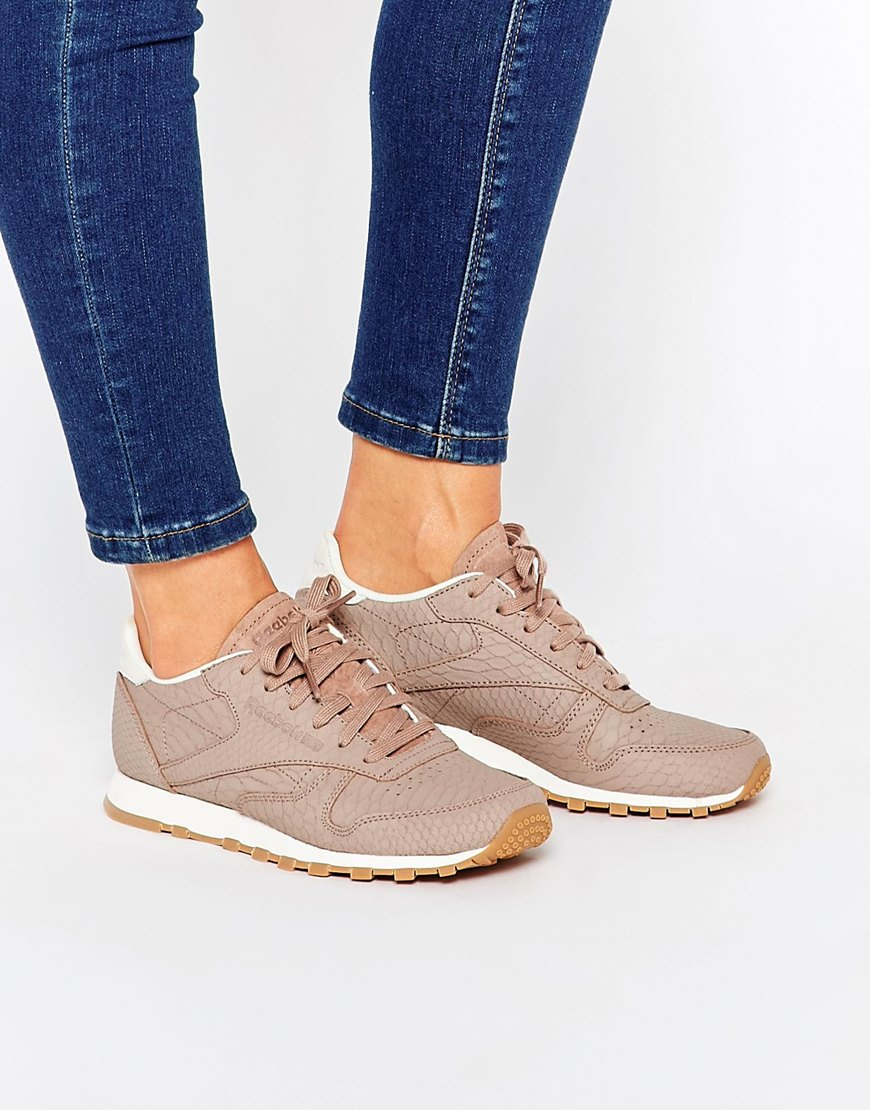 a53d2d2a2740d Reebok Taupe Classic Leather Trainer With Snake Texture in Natural ...