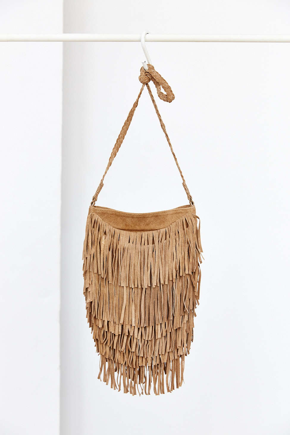 lyst ecote suede layered fringe crossbody bag in brown