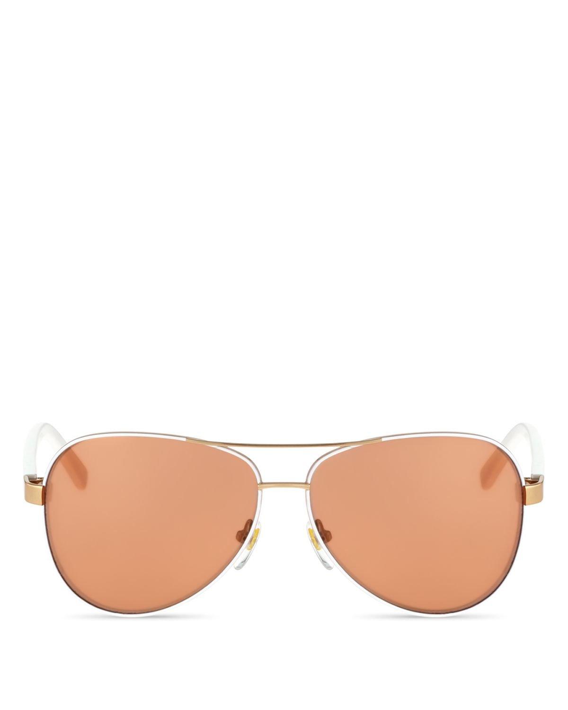 b9e9346f82 Lyst - Diane von Furstenberg Brandy Aviator Sunglasses in White