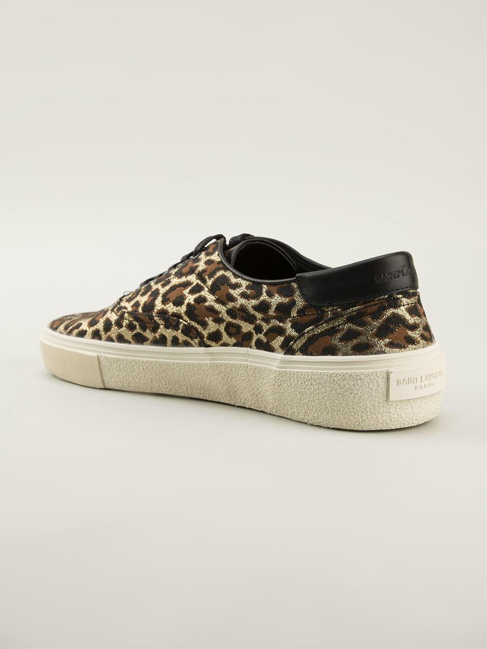 Saint Laurent Metallic Leopard Print Sneakers for men