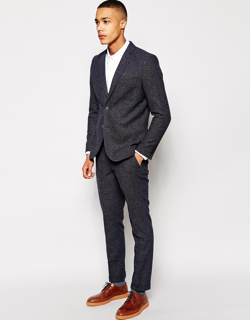 Selected Selected Neppy Ankle Grazer Suit Trousers In Slim Fit in