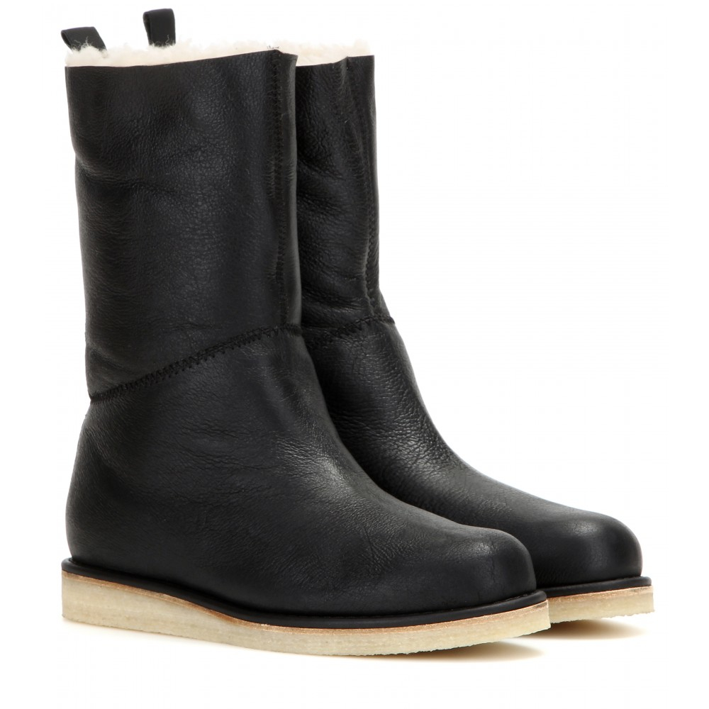 Acne Studios Ila Shearling Trimmed Leather Boots In Black