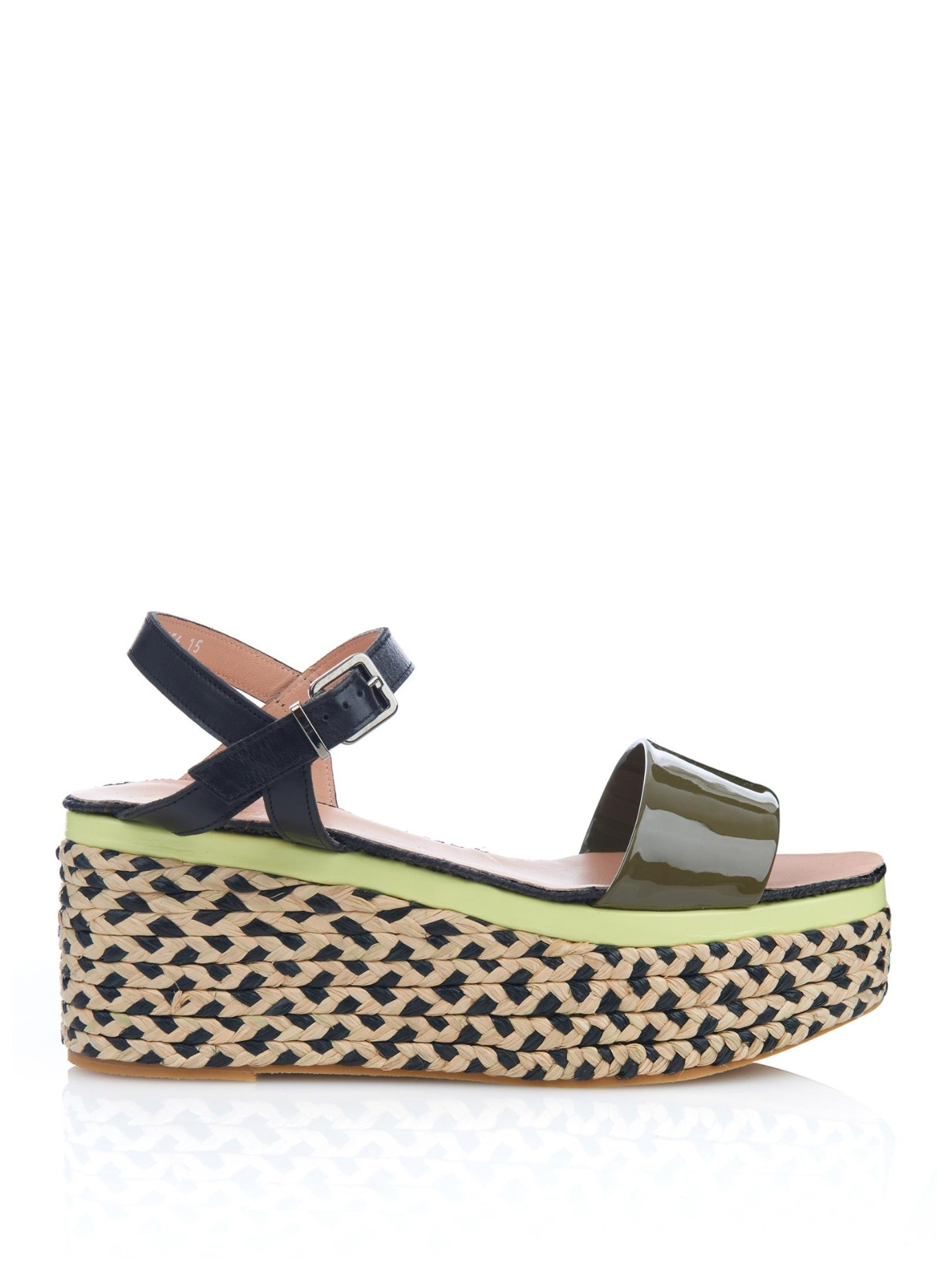 Robert Clergerie Adios Raffia And Leather Platform Sandals